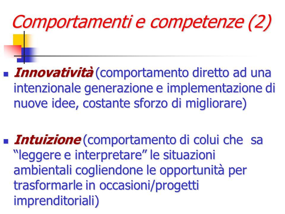 Comportamenti e competenze (2) Innovatività (comportamento diretto ad una intenzionale generazione e implementazione di nuove idee, costante sforzo di