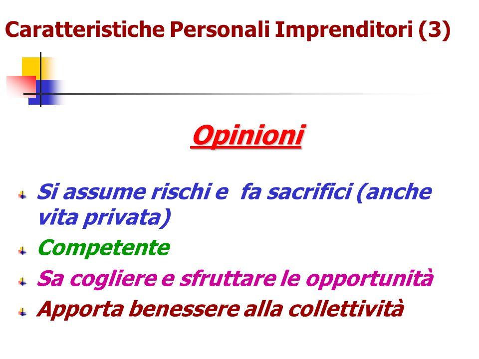 Caratteristiche Personali Imprenditori (3)Opinioni Si assume rischi e fa sacrifici (anche vita privata) Competente Sa cogliere e sfruttare le opportun