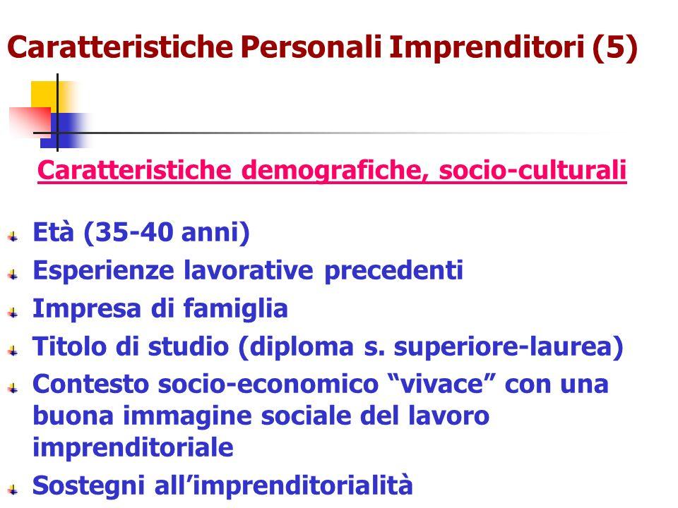 Caratteristiche Personali Imprenditori (5) Caratteristiche demografiche, socio-culturali Età (35-40 anni) Esperienze lavorative precedenti Impresa di