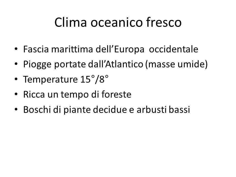 Clima oceanico fresco Fascia marittima dellEuropa occidentale Piogge portate dallAtlantico (masse umide) Temperature 15°/8° Ricca un tempo di foreste
