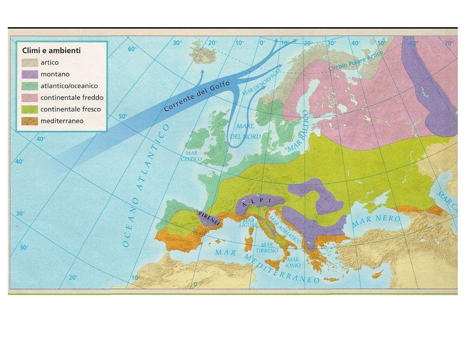 Clima oceanico fresco Fascia marittima dellEuropa occidentale Piogge portate dallAtlantico (masse umide) Temperature 15°/8° Ricca un tempo di foreste Boschi di piante decidue e arbusti bassi