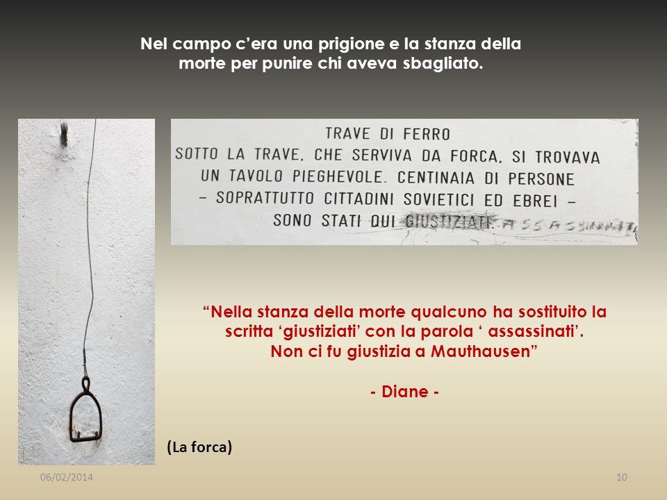 Nella stanza della morte qualcuno ha sostituito la scritta giustiziati con la parola assassinati. Non ci fu giustizia a Mauthausen - Diane - Nel campo