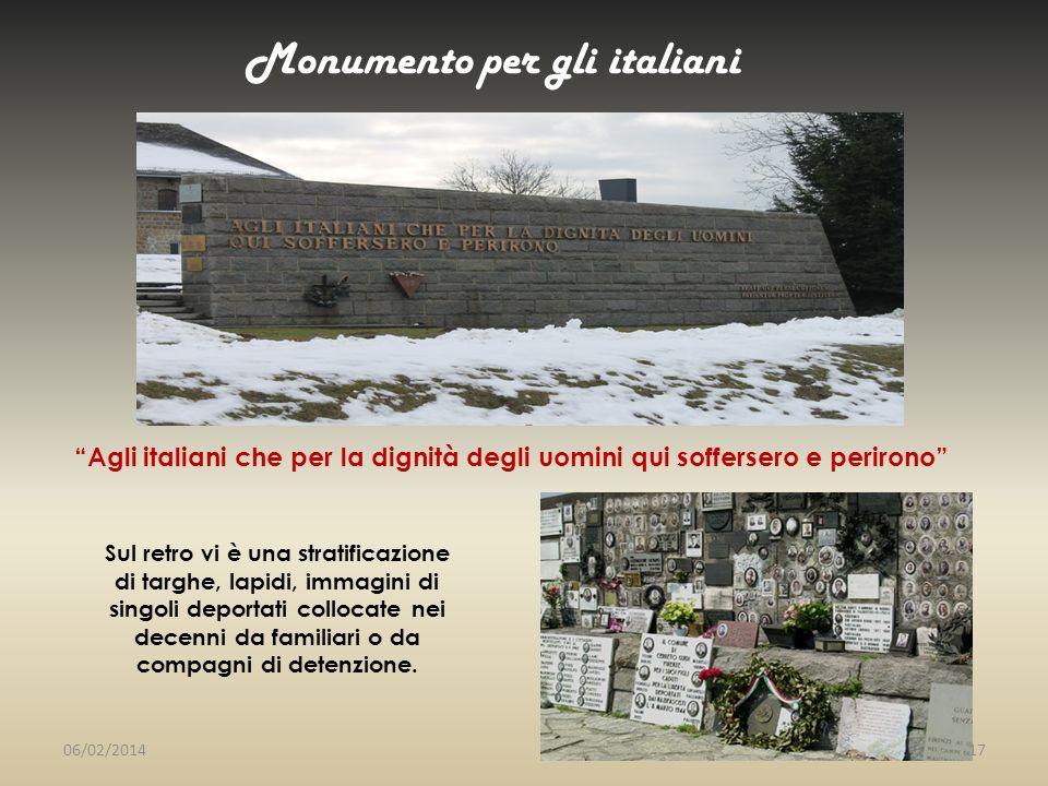 Monumento per gli italiani Sul retro vi è una stratificazione di targhe, lapidi, immagini di singoli deportati collocate nei decenni da familiari o da