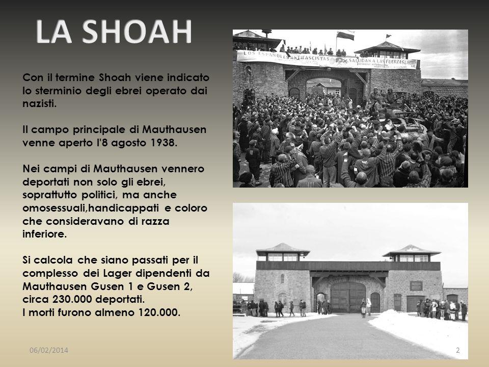 Con il termine Shoah viene indicato lo sterminio degli ebrei operato dai nazisti. Il campo principale di Mauthausen venne aperto l'8 agosto 1938. Nei