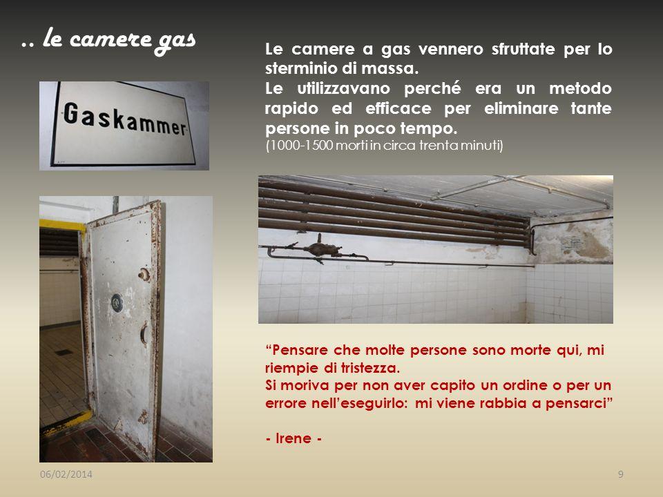 .. le camere gas Le camere a gas vennero sfruttate per lo sterminio di massa. Le utilizzavano perché era un metodo rapido ed efficace per eliminare ta