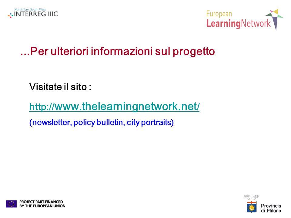 ...Per ulteriori informazioni sul progetto Visitate il sito : http:// www.thelearningnetwork.net / (newsletter, policy bulletin, city portraits)