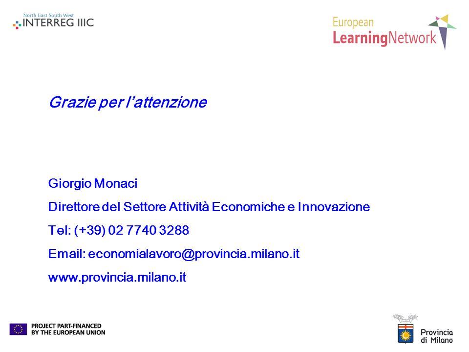 Grazie per lattenzione Giorgio Monaci Direttore del Settore Attività Economiche e Innovazione Tel: (+39) 02 7740 3288 Email: economialavoro@provincia.milano.it www.provincia.milano.it