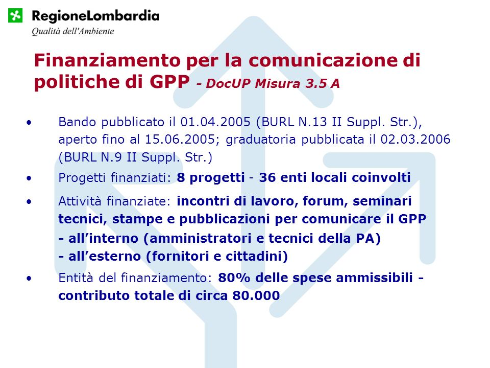 Finanziamento per la comunicazione di politiche di GPP - DocUP Misura 3.5 A Bando pubblicato il 01.04.2005 (BURL N.13 II Suppl.