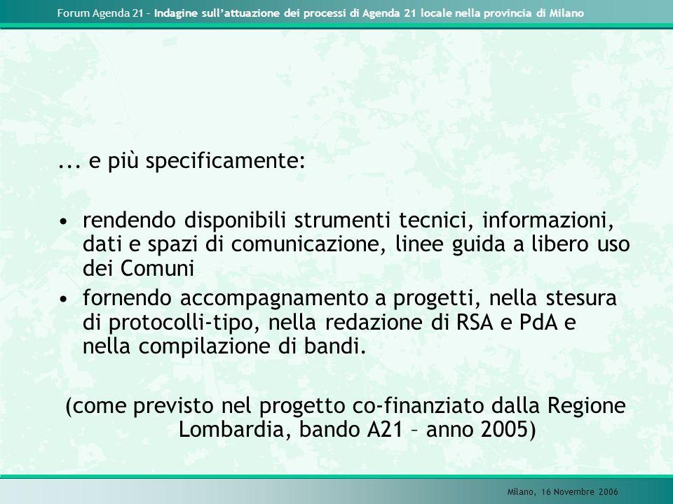 Forum Agenda 21 – Indagine sullattuazione dei processi di Agenda 21 locale nella provincia di Milano Milano, 16 Novembre 2006... e più specificamente: