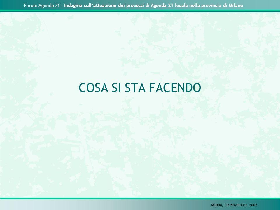 Forum Agenda 21 – Indagine sullattuazione dei processi di Agenda 21 locale nella provincia di Milano Milano, 16 Novembre 2006 COSA SI STA FACENDO