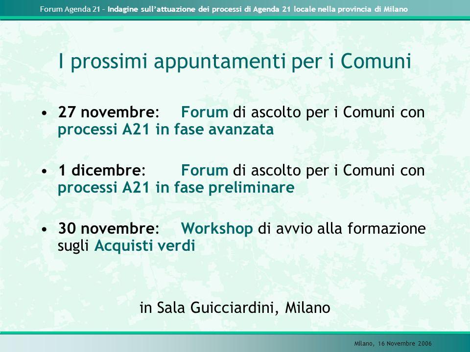 Forum Agenda 21 – Indagine sullattuazione dei processi di Agenda 21 locale nella provincia di Milano Milano, 16 Novembre 2006 I prossimi appuntamenti