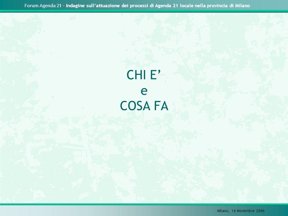 Forum Agenda 21 – Indagine sullattuazione dei processi di Agenda 21 locale nella provincia di Milano Milano, 16 Novembre 2006 CHI E e COSA FA