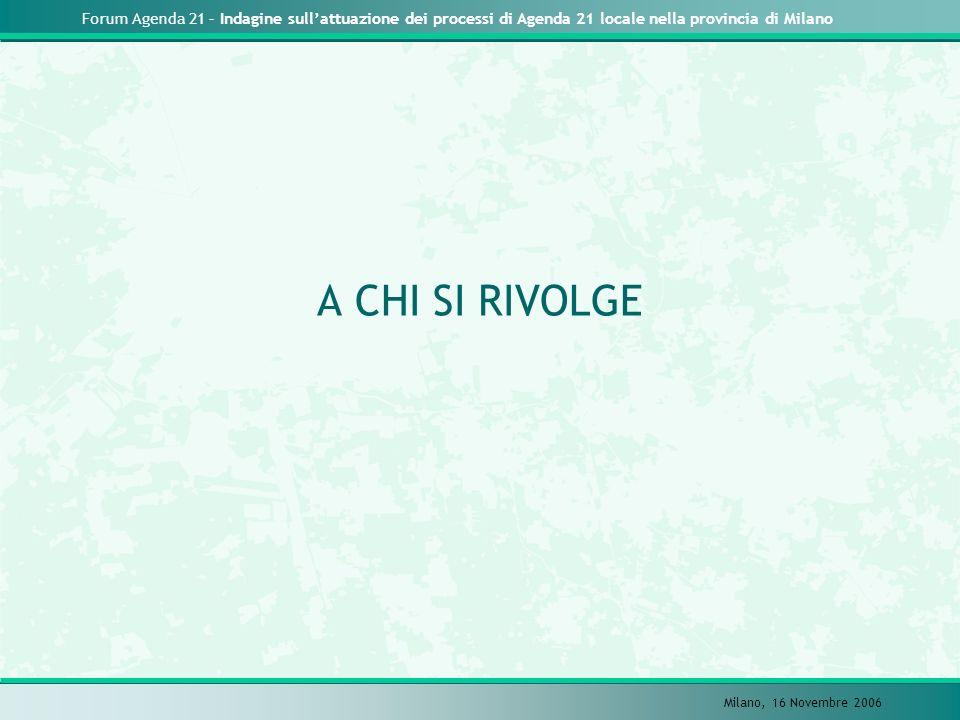 Forum Agenda 21 – Indagine sullattuazione dei processi di Agenda 21 locale nella provincia di Milano Milano, 16 Novembre 2006 A CHI SI RIVOLGE