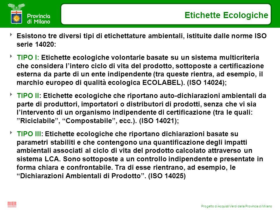 Progetto di Acquisti Verdi della Provincia di Milano Etichette Ecologiche Esistono tre diversi tipi di etichettature ambientali, istituite dalle norme