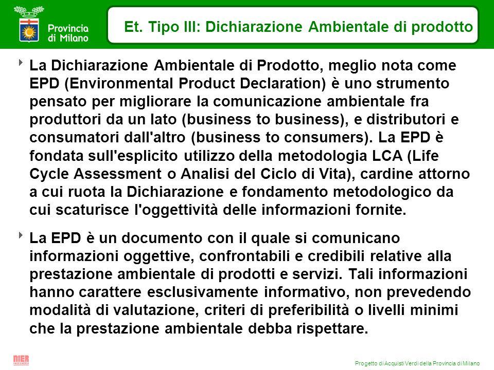 Progetto di Acquisti Verdi della Provincia di Milano Et. Tipo III: Dichiarazione Ambientale di prodotto La Dichiarazione Ambientale di Prodotto, megli