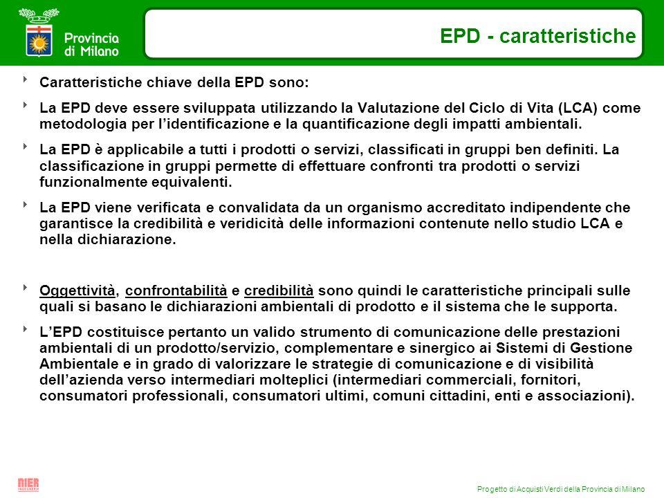 Progetto di Acquisti Verdi della Provincia di Milano EPD - caratteristiche Caratteristiche chiave della EPD sono: La EPD deve essere sviluppata utiliz