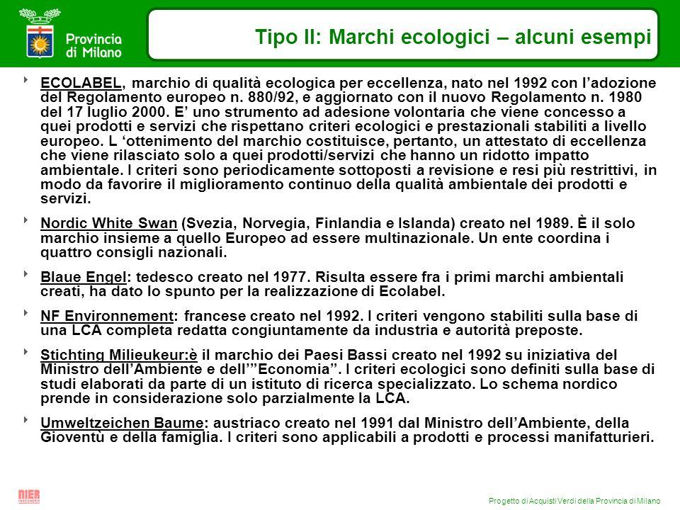 Progetto di Acquisti Verdi della Provincia di Milano Tipo II: Marchi ecologici – alcuni esempi ECOLABEL, marchio di qualità ecologica per eccellenza,