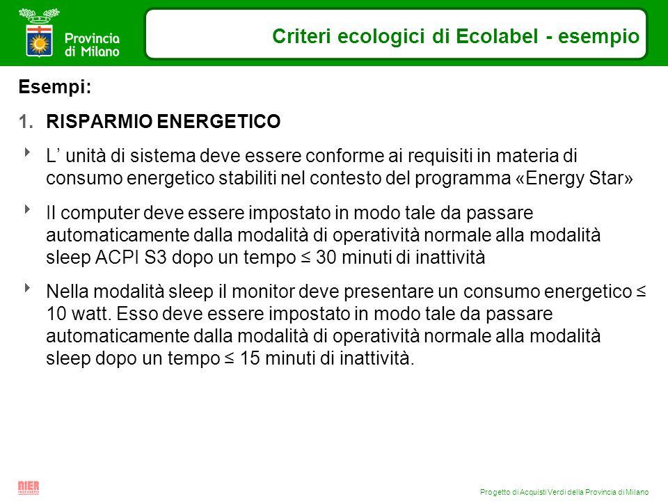 Progetto di Acquisti Verdi della Provincia di Milano Criteri ecologici di Ecolabel - esempio Esempi: 1.RISPARMIO ENERGETICO L unità di sistema deve es