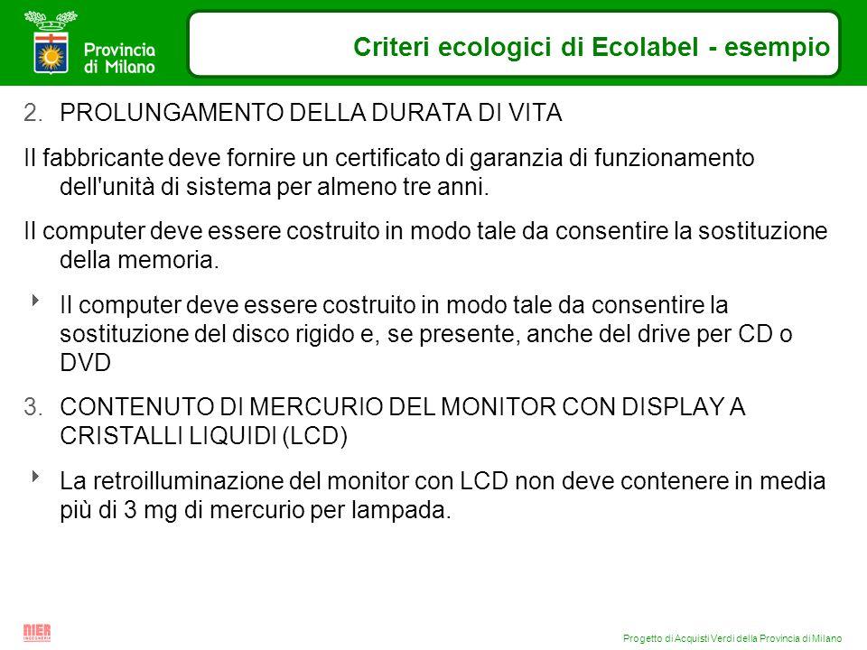 Progetto di Acquisti Verdi della Provincia di Milano Criteri ecologici di Ecolabel - esempio 2.PROLUNGAMENTO DELLA DURATA DI VITA Il fabbricante deve