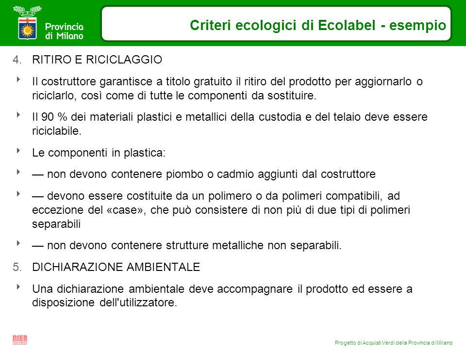 Progetto di Acquisti Verdi della Provincia di Milano Criteri ecologici di Ecolabel - esempio 4.RITIRO E RICICLAGGIO Il costruttore garantisce a titolo