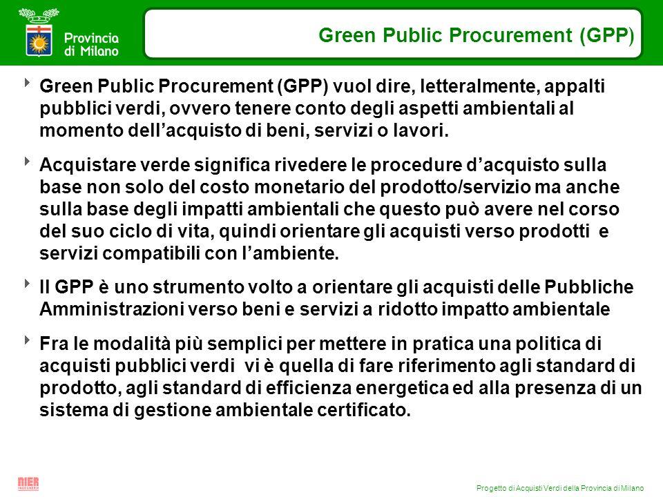 Progetto di Acquisti Verdi della Provincia di Milano Green Public Procurement (GPP ) Green Public Procurement (GPP) vuol dire, letteralmente, appalti