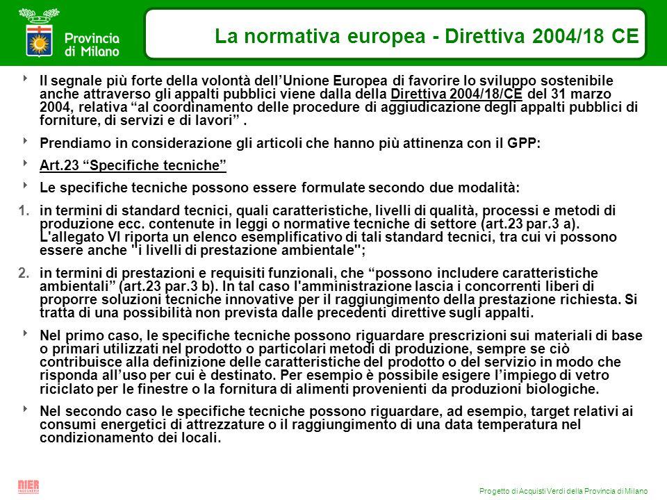 Progetto di Acquisti Verdi della Provincia di Milano La normativa europea - Direttiva 2004/18 CE Il segnale più forte della volontà dellUnione Europea