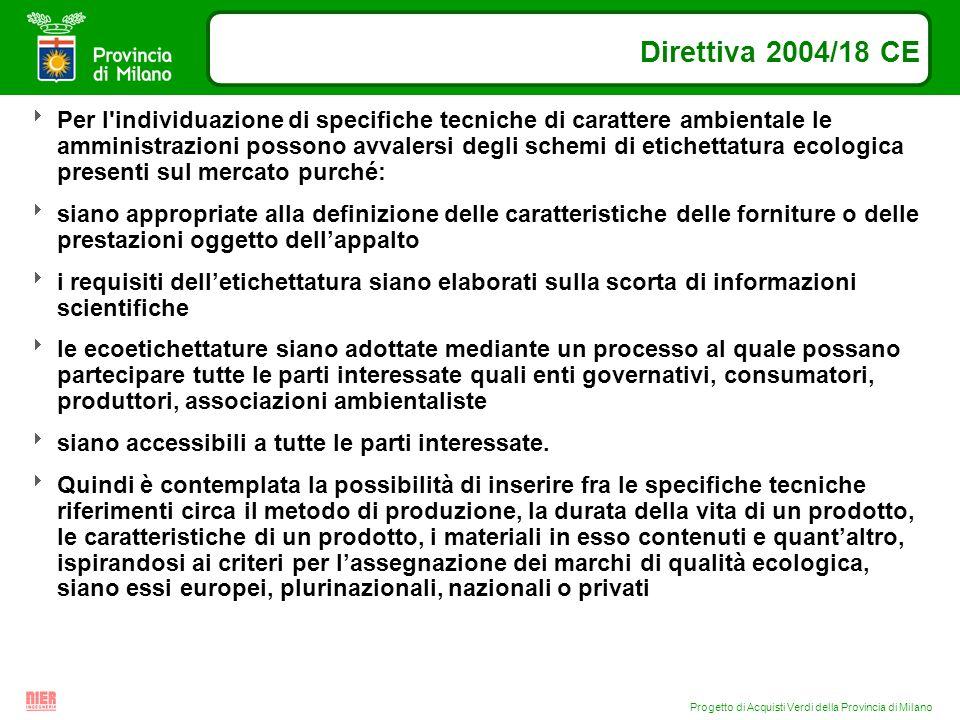 Progetto di Acquisti Verdi della Provincia di Milano Direttiva 2004/18 CE Per l'individuazione di specifiche tecniche di carattere ambientale le ammin
