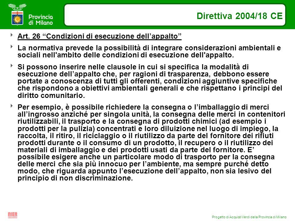 Progetto di Acquisti Verdi della Provincia di Milano Direttiva 2004/18 CE Art. 26 Condizioni di esecuzione dellappalto La normativa prevede la possibi