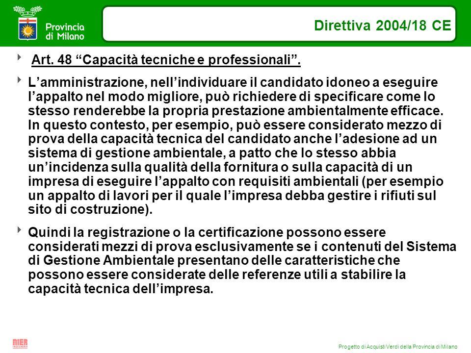 Progetto di Acquisti Verdi della Provincia di Milano Direttiva 2004/18 CE Art. 48 Capacità tecniche e professionali. Lamministrazione, nellindividuare