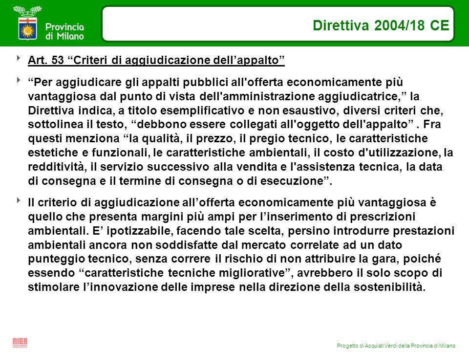 Progetto di Acquisti Verdi della Provincia di Milano Direttiva 2004/18 CE Art. 53 Criteri di aggiudicazione dellappalto Per aggiudicare gli appalti pu