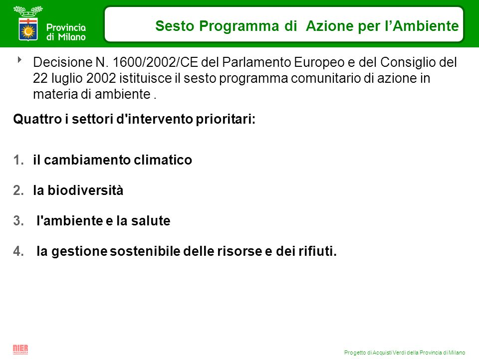 Progetto di Acquisti Verdi della Provincia di Milano Sesto Programma di Azione per lAmbiente Decisione N. 1600/2002/CE del Parlamento Europeo e del Co