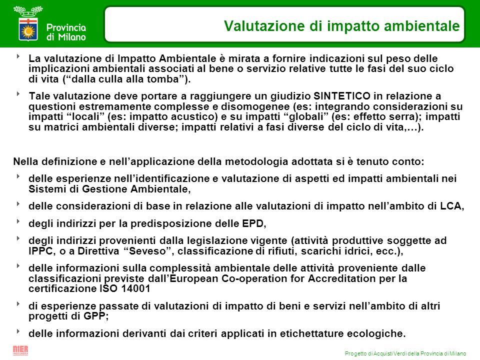 Progetto di Acquisti Verdi della Provincia di Milano Valutazione di impatto ambientale La valutazione di Impatto Ambientale è mirata a fornire indicaz