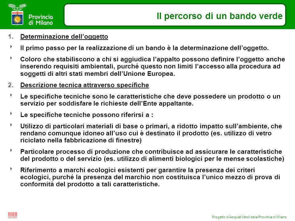 Progetto di Acquisti Verdi della Provincia di Milano Il percorso di un bando verde 1.Determinazione delloggetto Il primo passo per la realizzazione di