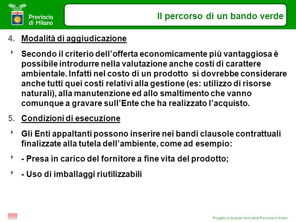Progetto di Acquisti Verdi della Provincia di Milano Il percorso di un bando verde 4.Modalità di aggiudicazione Secondo il criterio dellofferta econom