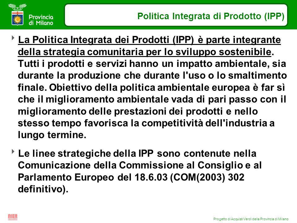 Progetto di Acquisti Verdi della Provincia di Milano Politica Integrata di Prodotto (IPP) La Politica Integrata dei Prodotti (IPP) è parte integrante