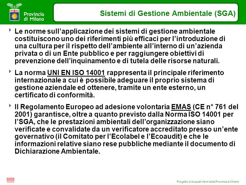 Progetto di Acquisti Verdi della Provincia di Milano Sistemi di Gestione Ambientale (SGA) Le norme sullapplicazione dei sistemi di gestione ambientale