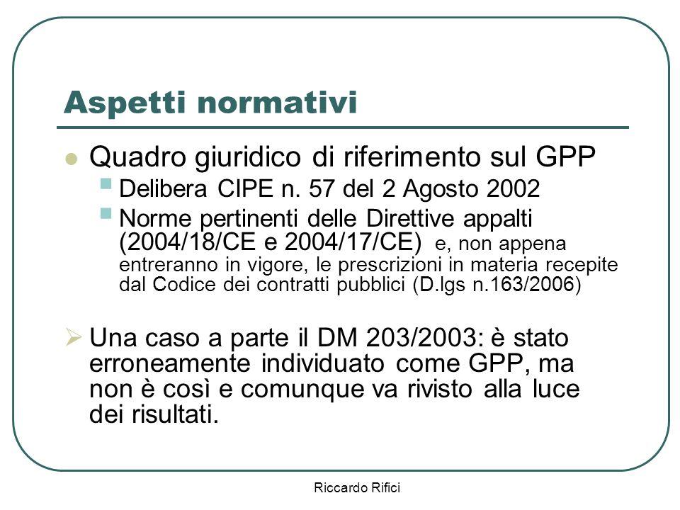 Riccardo Rifici Aspetti normativi Quadro giuridico di riferimento sul GPP Delibera CIPE n.