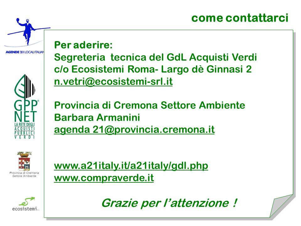come contattarci Per aderire: Segreteria tecnica del GdL Acquisti Verdi c/o Ecosistemi Roma- Largo dè Ginnasi 2 n.vetri@ecosistemi-srl.it Provincia di
