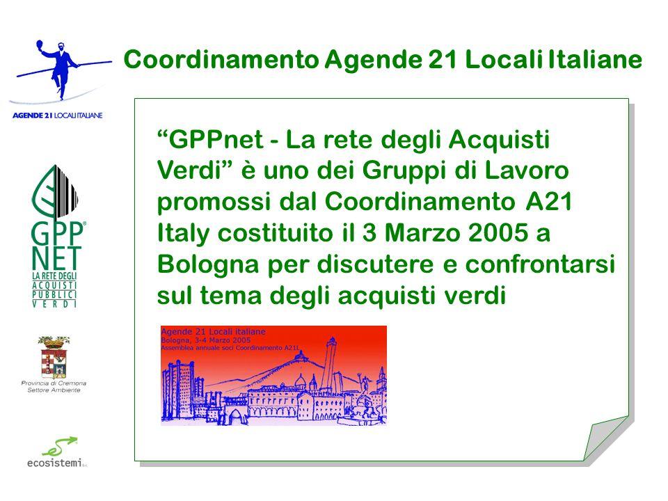 Coordinamento Agende 21 Locali Italiane GPPnet - La rete degli Acquisti Verdi è uno dei Gruppi di Lavoro promossi dal Coordinamento A21 Italy costituito il 3 Marzo 2005 a Bologna per discutere e confrontarsi sul tema degli acquisti verdi
