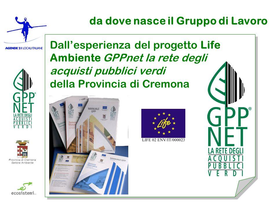 da dove nasce il Gruppo di Lavoro Dallesperienza del progetto Life Ambiente GPPnet la rete degli acquisti pubblici verdi della Provincia di Cremona