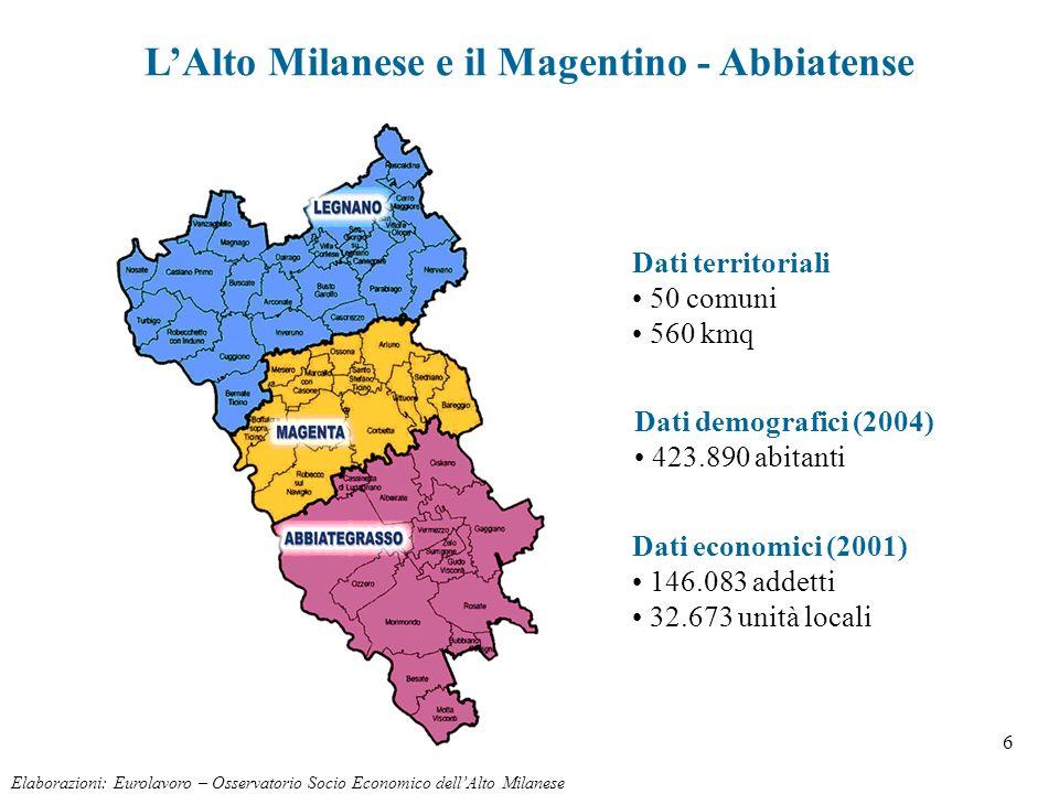 6 LAlto Milanese e il Magentino - Abbiatense Dati demografici (2004) 423.890 abitanti Dati territoriali 50 comuni 560 kmq Elaborazioni: Eurolavoro – O