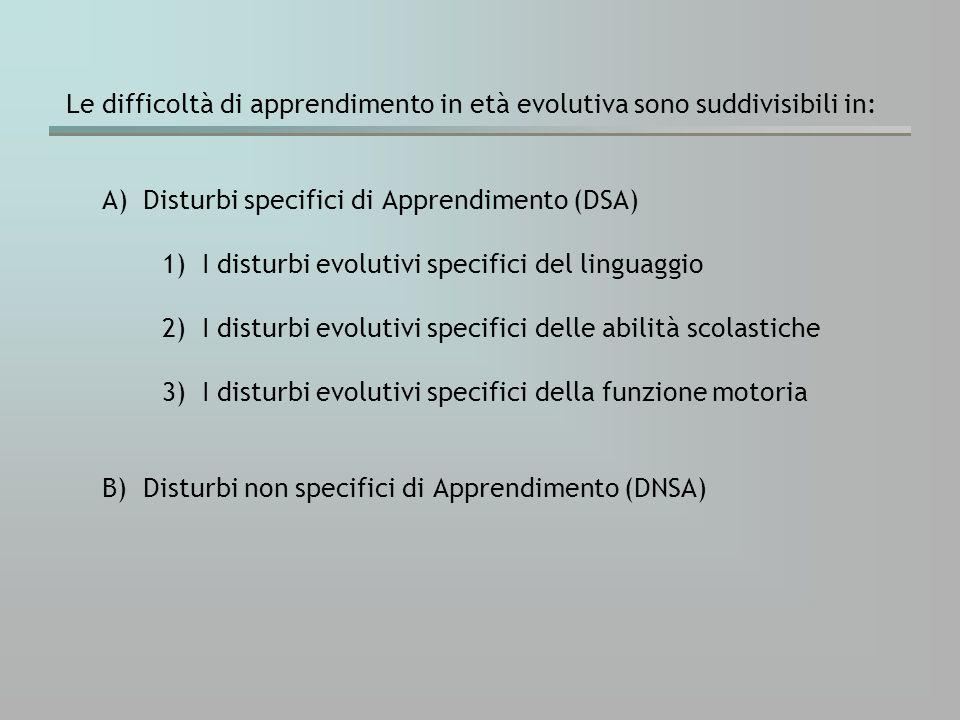 La presenza di un disturbo specifico richiede una prestazione significativamente deficitaria nelle prove che valutano la/e funzione/i in questione, a fronte di un punteggio nella norma nel test di valutazione intellettiva.