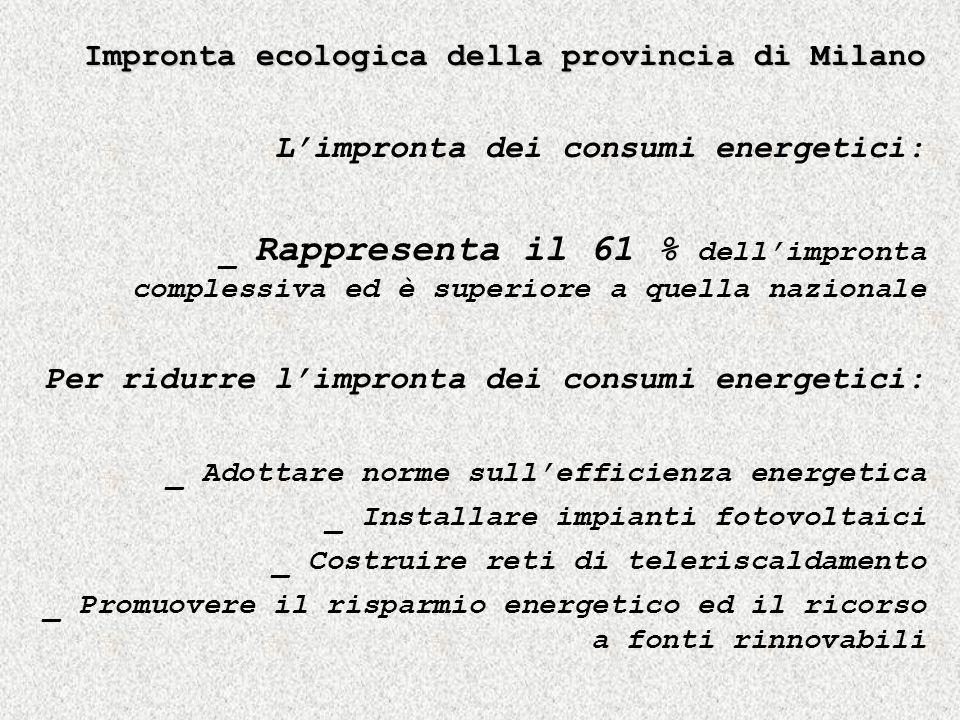 Impronta ecologica della provincia di Milano Limpronta dei consumi energetici: _ Rappresenta il 61 % dellimpronta complessiva ed è superiore a quella nazionale Per ridurre limpronta dei consumi energetici: _ Adottare norme sullefficienza energetica _ Installare impianti fotovoltaici _ Costruire reti di teleriscaldamento _ Promuovere il risparmio energetico ed il ricorso a fonti rinnovabili