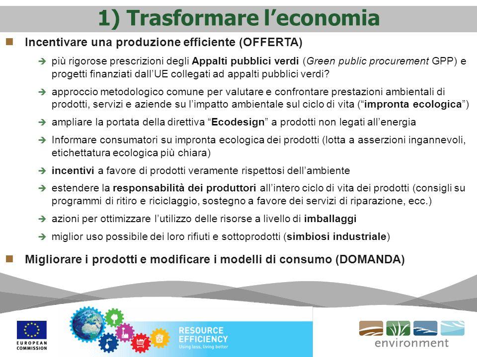 1) Trasformare leconomia Incentivare una produzione efficiente (OFFERTA) più rigorose prescrizioni degli Appalti pubblici verdi (Green public procurem