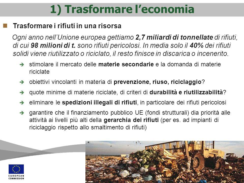 1) Trasformare leconomia Trasformare i rifiuti in una risorsa Ogni anno nellUnione europea gettiamo 2,7 miliardi di tonnellate di rifiuti, di cui 98 milioni di t.