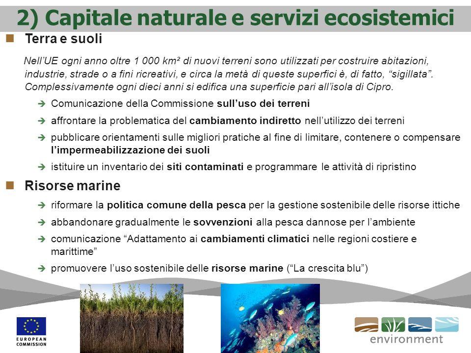 2) Capitale naturale e servizi ecosistemici Terra e suoli NellUE ogni anno oltre 1 000 km² di nuovi terreni sono utilizzati per costruire abitazioni,
