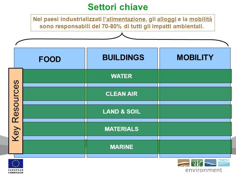 Settori chiave FOOD MOBILITYBUILDINGS Nei paesi industrializzati lalimentazione, gli alloggi e la mobilità sono responsabili del 70-80% di tutti gli impatti ambientali.