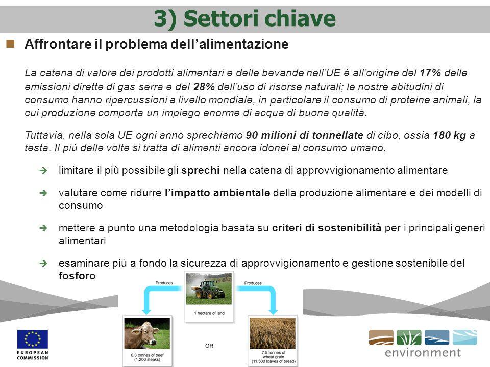 3) Settori chiave Affrontare il problema dellalimentazione La catena di valore dei prodotti alimentari e delle bevande nellUE è allorigine del 17% del