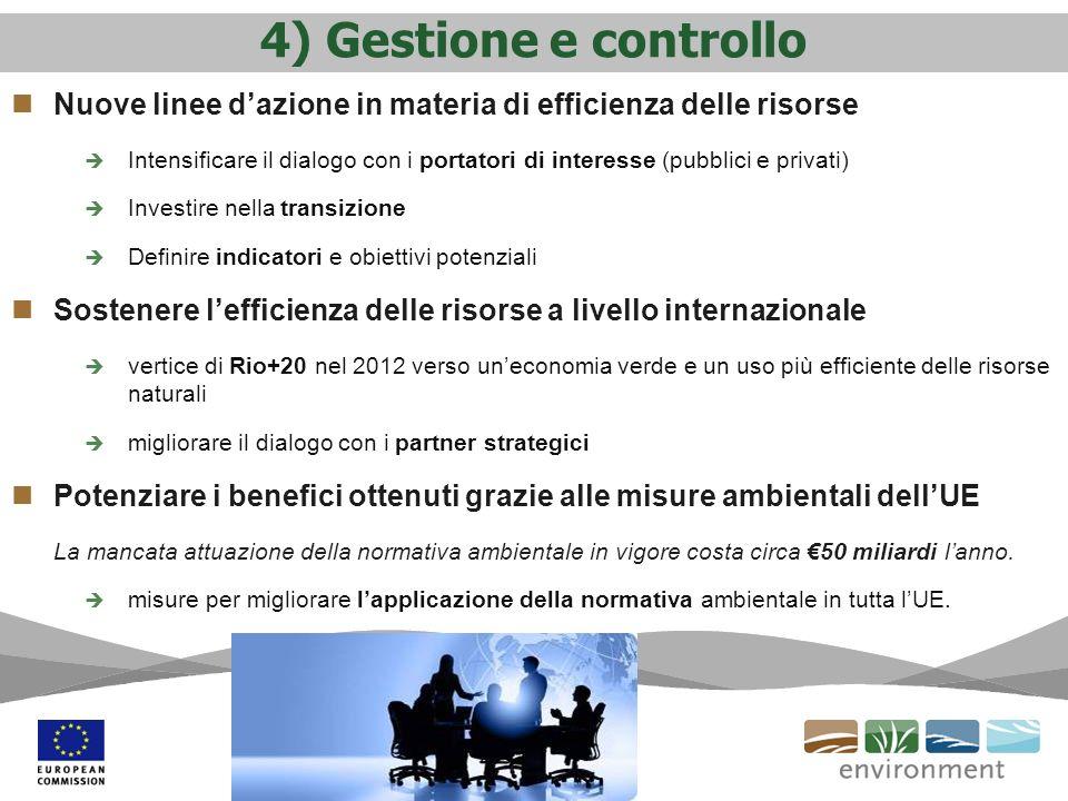 4) Gestione e controllo Nuove linee dazione in materia di efficienza delle risorse Intensificare il dialogo con i portatori di interesse (pubblici e p