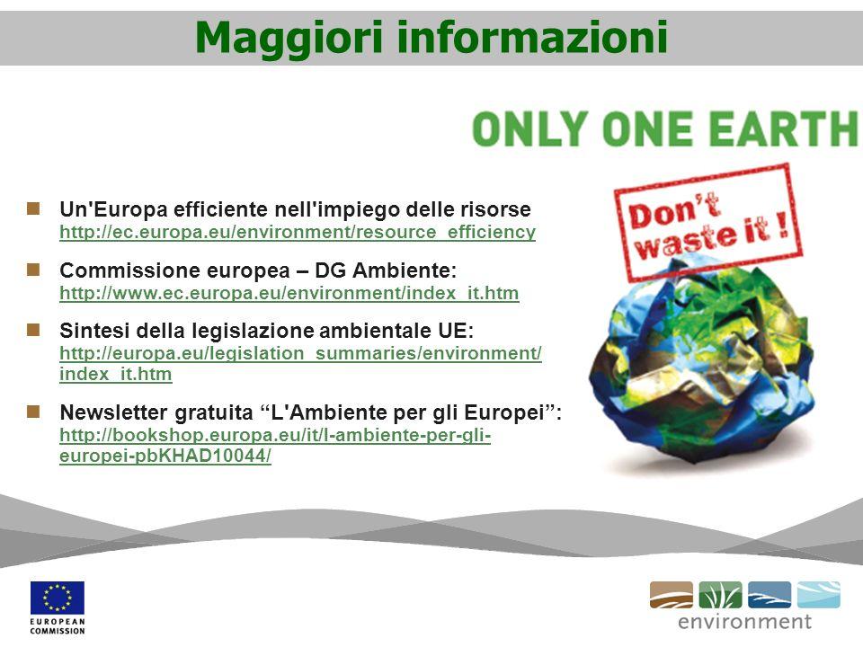 Maggiori informazioni Un Europa efficiente nell impiego delle risorse http://ec.europa.eu/environment/resource_efficiency http://ec.europa.eu/environment/resource_efficiency Commissione europea – DG Ambiente: http://www.ec.europa.eu/environment/index_it.htm http://www.ec.europa.eu/environment/index_it.htm Sintesi della legislazione ambientale UE: http://europa.eu/legislation_summaries/environment/ index_it.htm http://europa.eu/legislation_summaries/environment/ index_it.htm Newsletter gratuita L Ambiente per gli Europei: http://bookshop.europa.eu/it/l-ambiente-per-gli- europei-pbKHAD10044/ http://bookshop.europa.eu/it/l-ambiente-per-gli- europei-pbKHAD10044/